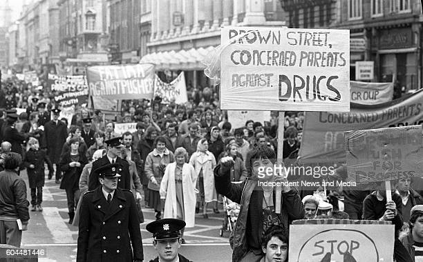 Concerned parents against drug pushers march along O Connell St in Dublin to Government buildings to hand in a letter outlining their objectives, .