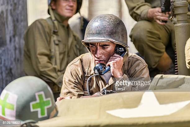 Concerned Soldier on the Phone Receiving Orders
