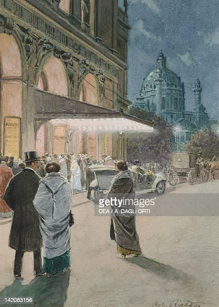 Concert at Musikverunde in Vienna Austria 20th Century Watercolour