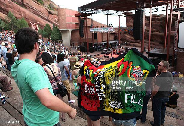 Concert attendees enjoy the Reggae on the Rocks music festival at Red Rocks Amphitheater on August 27 2011 in Morrison Colorado