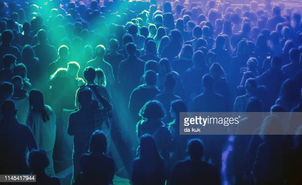 concert audience listening to music - festival goer stock pictures, royalty-free photos & images