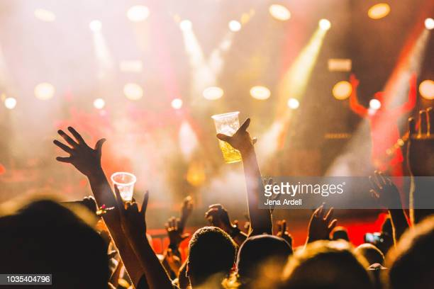 concert crowd, concert alcohol, alcohol concert, festival beer, party alcohol, beer, concert beer - music festival ストックフォトと画像