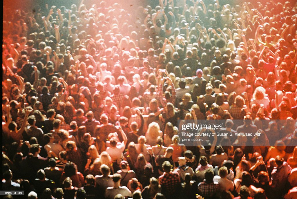 Concert crowd from above : Stock Photo
