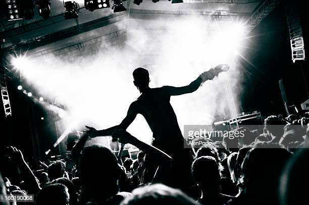 concert crowd - rocker stock photos and pictures