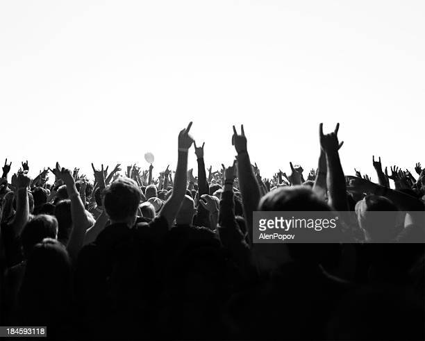 concert crowd - rock stock pictures, royalty-free photos & images
