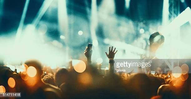 concert crowd. - stage light stock pictures, royalty-free photos & images