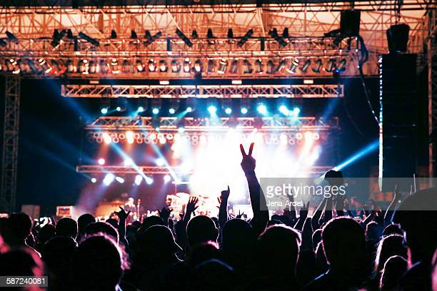 concert crowd silhouette - concert hall stock pictures, royalty-free photos & images