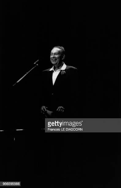 Concert du chanteur français Charles Trenet à Crest, dans la drôme, en France, en août 1997.