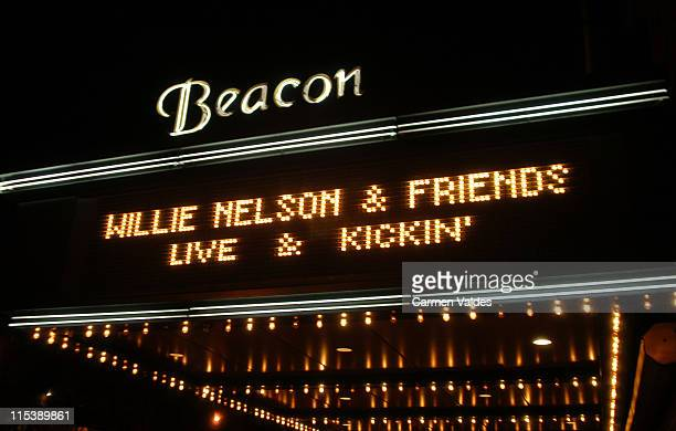Concert Marquee during Willie Nelson and Friends Live and Kickin' at Beacon Theatre in New York City New York United States