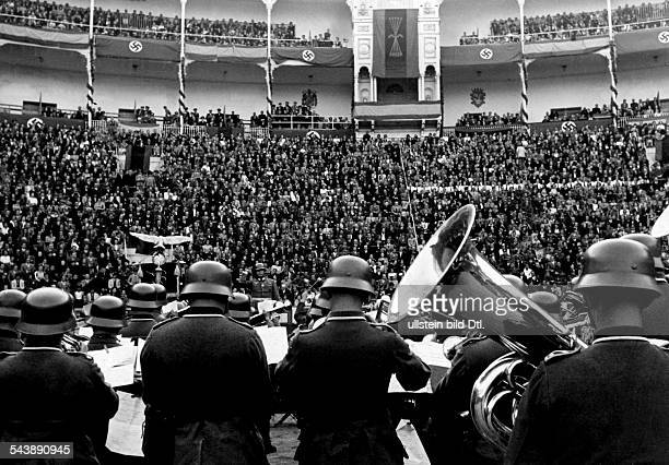 Concert of a military band of the German Wehrmacht in the bullfighting arena in Madrid 1940 Photographer Heinrich Hoffmann Published by 'Das Reich'...