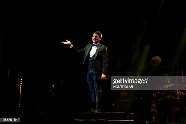 AUGUSTEO NAPOLI CAMPANIA ITALY Concert of Sal Da Vinci at the Augusteo theater in Naples orchestra with 50 'love boat' style elements narrating the...