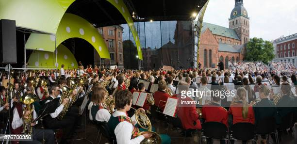 Concert of The Latvian National Song and Dance Festival in the Riga Dome Square.