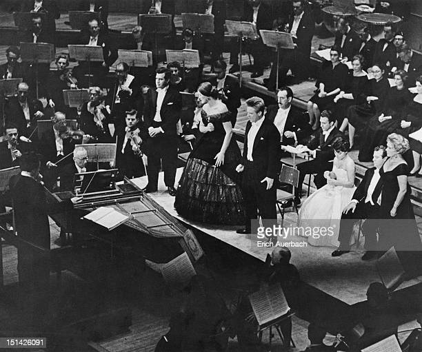 A concert performance of Mozart's 'Don Giovanni' at the Royal Festival Hall London 14th October 1959 Standing left to right are singers Luigi Alva...