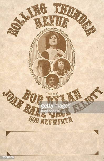 Concert poster for The Rolling Thunder Revue, featuring Bob Dylan, Joan Baez, Jack Elliot and Bob Neuwirth, 1975.