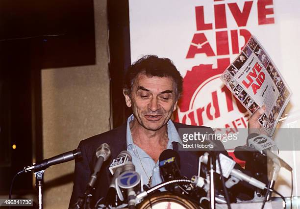 Concert promoter Bill Graham at the Live Aid press conference at the Hard Rock Cafe in New York City on September 27 1985