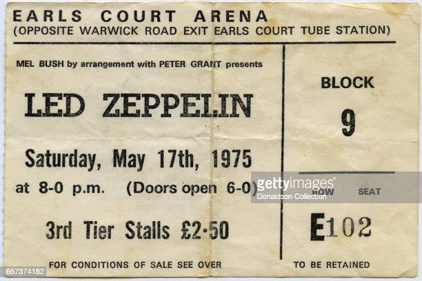 A concert ticket for a Led Zeppelin concert at the Earls Court Arena for May 17 1975 in London England