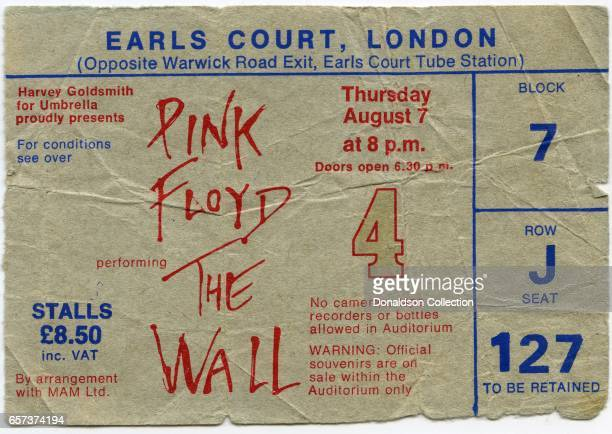 A concert ticket for a Pink Floyd The Wall concert at the Earls Court Arena for August 7 1980 in London England
