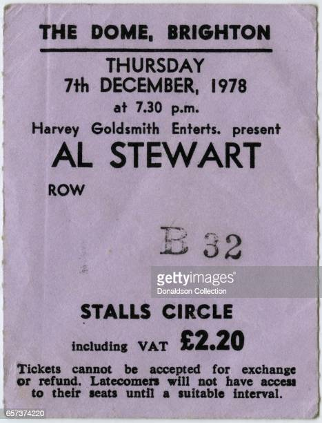 A concert ticket for an Al Stewart concert at The Dome theatre for December 7 1978 in Brighton England