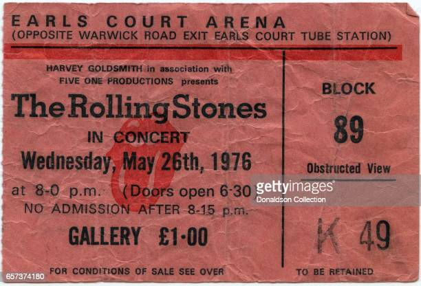 A concert ticket for The Rolling Stones concert at the Earls Court Arena for May 26 1976 in London England