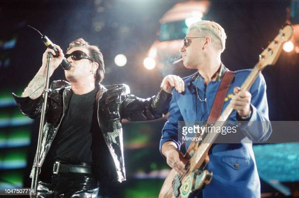U2 Concert Zoo TV Tour Cardiff Arms Park Cardiff Wales Wednesday 18th August 1993 picture shows lead singer Bono and bass guitarist Adam Clayton on...