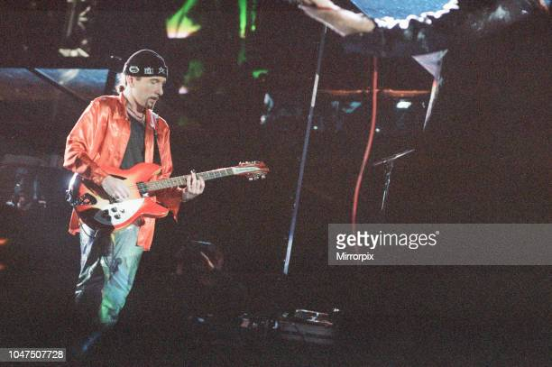 Concert, Zoo TV Tour, Cardiff Arms Park, Cardiff, Wales, Wednesday 18th August 1993, picture shows lead guitarist The Edge, David Howell Evans.