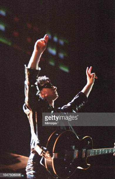 Concert, Zoo TV Tour, Cardiff Arms Park, Cardiff, Wales, Wednesday 18th August 1993, picture shows lead singer Bono on stage.