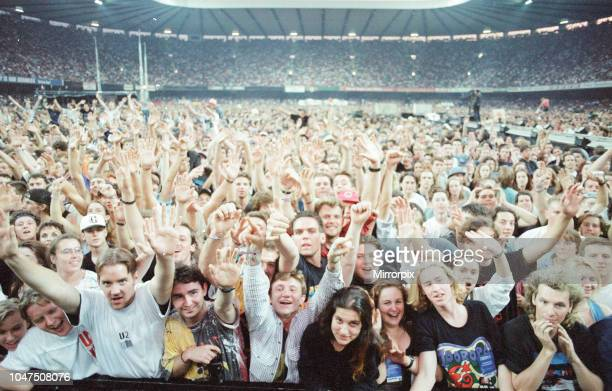 Concert, Zoo TV Tour, Cardiff Arms Park, Cardiff, Wales, Wednesday 18th August 1993, picture shows crowd scenes.
