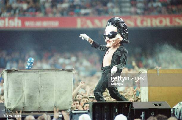 Concert, Zoo TV Tour, Cardiff Arms Park, Cardiff, Wales, Wednesday 18th August 1993, picture shows life size caricature of lead singer Bono.