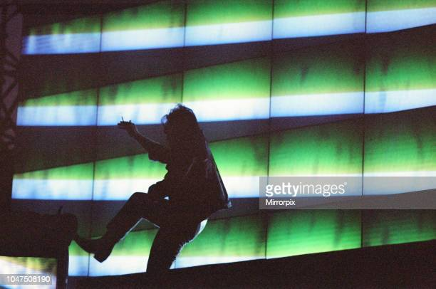 Concert, Zoo TV Tour, Cardiff Arms Park, Cardiff, Wales, Wednesday 18th August 1993, picture shows lead singer Bono dancing on stage.