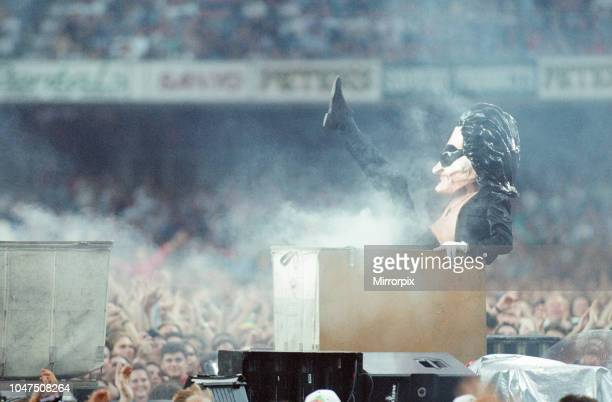 Concert, Zoo TV Tour, Cardiff Arms Park, Cardiff, Wales, Wednesday 18th August 1993, picture shows Caricature of lead singer Bono.