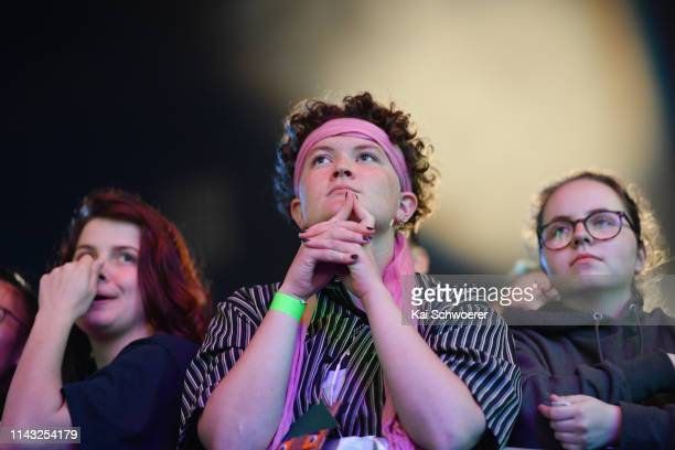 Concertgoers look on during the You Are Us/Aroha Nui Concert at Christchurch Stadium on April 17 2019 in Christchurch New Zealand The fundraising...