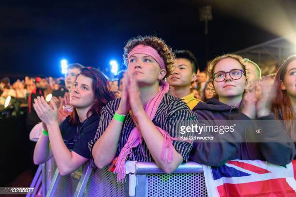 Concertgoers react as Anthony Jamaal Green of the Muslim Association of Canterbury speaks during the You Are Us/Aroha Nui Concert at Christchurch...