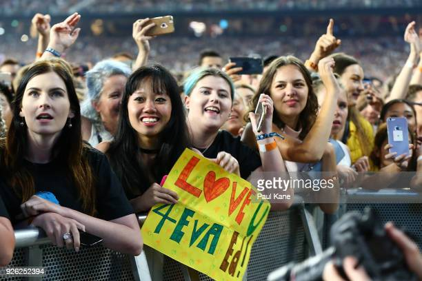 Concertgoers wait for Ed Sheeran to perform in concert on the opening night ofhis Australian tour at Optus Stadium on March 2 2018 in Perth Australia