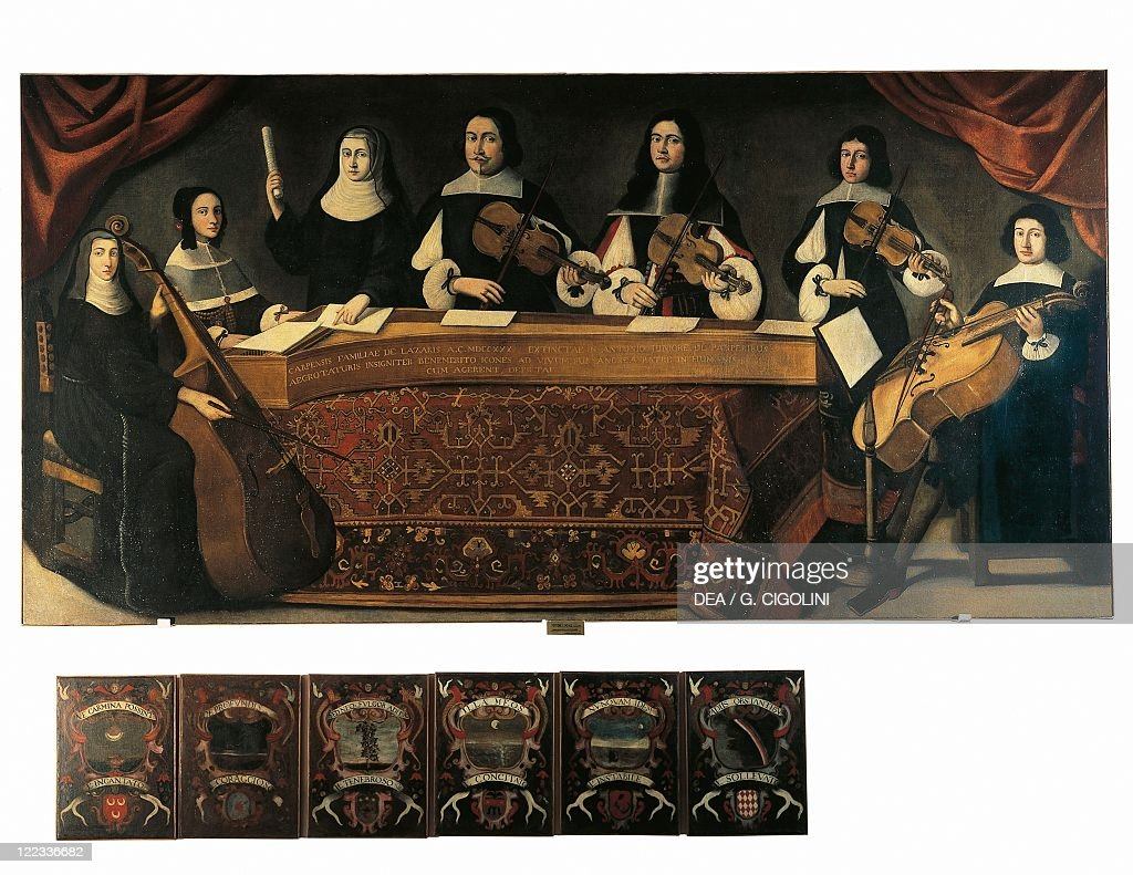Concerto in Casa Lazzeri. Painting by Girolamo Martinelli, 2nd half of the 17th century. (Photo by DeAgostini/Getty Images) : News Photo