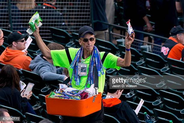 A concession vendor selling in the stands before the game between the San Francisco Giants and the Arizona Diamondbacks at ATT Park on April 18 2015...