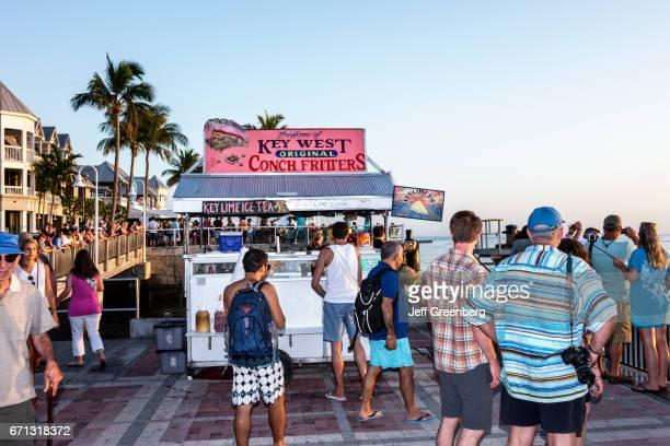 A conch fritters food vendor at Mallory Square Dock