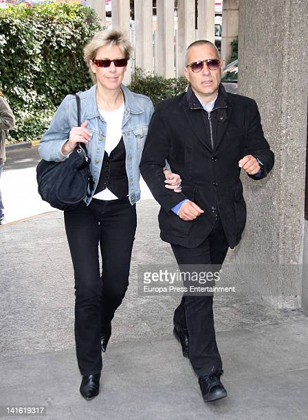 Concha Galan and Goyo Gonzalez attend the funeral chapel for Paco Valladares on March 18 2012 in Madrid Spain