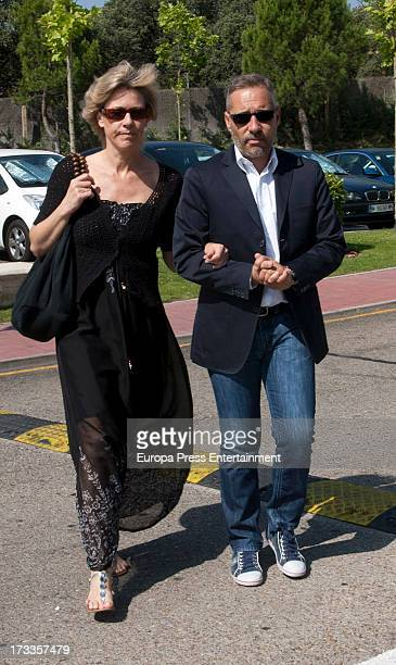 Concha Galan and Goyo Gonzalez attend the funeral chapel for the journalist Concha Garcia Campoy at La Paz Morgue on July 12 2013 in Madrid Spain