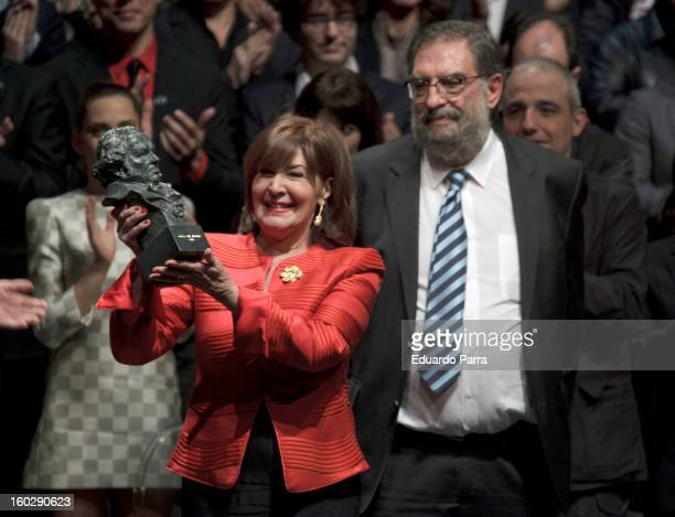 Concha Velasco receives an honorary Goya award for her career at El Canal theatre on January 28 2013 in Madrid Spain