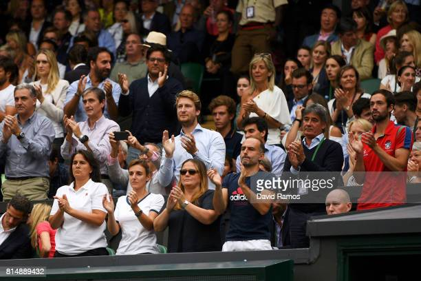 Conchita Martinez coach of Garbine Muguruza applauds during her Ladies Singles final against Venus Williams of The United States on day twelve of the...