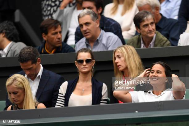 Conchita Martinez coach of Garbine Muguruza looks on prior to the Ladies Singles final against Venus Williams of The United States on day twelve of...
