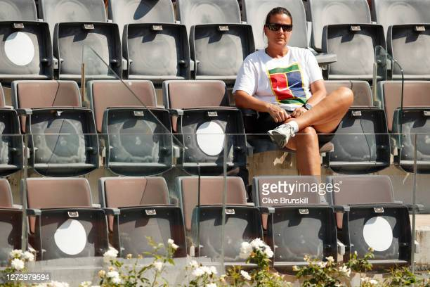Conchita Martinez, coach of Garbine Muguruza of Spain watches on during her round two match against Cori Gauff of The United States during day four...