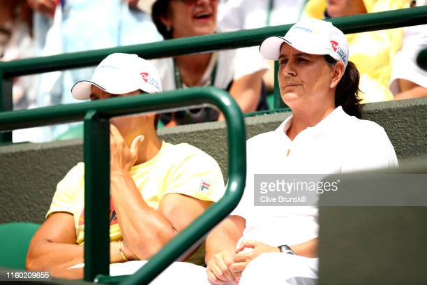 Conchita Martinez, coach of Karolina Pliskova of The Czech Republic looks on in the Ladies' Singles third round match between Kristyna Pliskova of...
