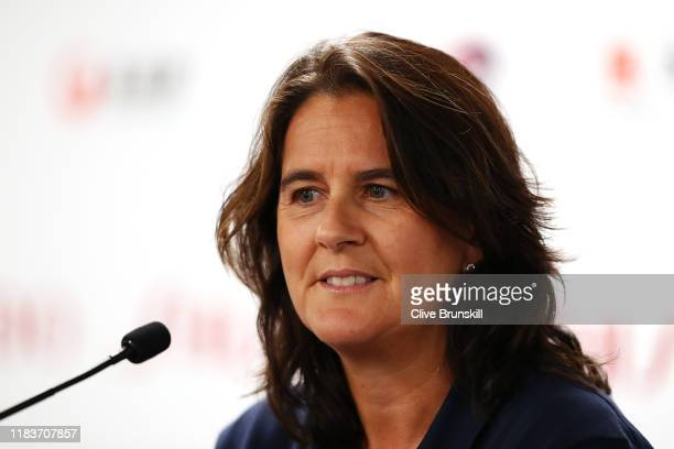 Conchita Martinez, coach of Karolina Pliskova of the Czech Republic, fields questions from the media during a press conference on Day One of the 2019...