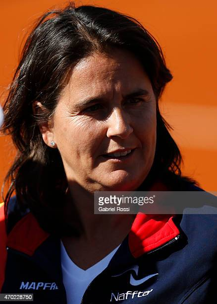 Conchita Martinez coach of Spain looks on after finishing a round 2 match between Maria Irigoyen of Argentina and Lara Arruabarrena of Spain as part...