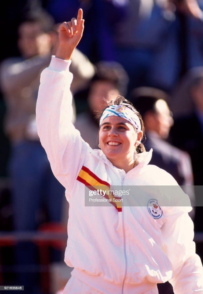 Conchita Martinez of Spain celebrates during a Federation Cup match, circa 1995.