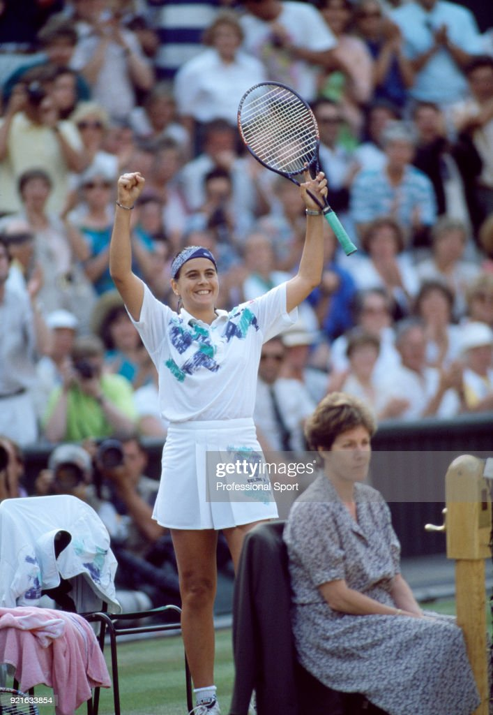 Conchita Martinez of Spain celebrates during the Wimbledon Lawn Tennis Championships at the All England Lawn Tennis and Croquet Club, circa June, 1994 in London, England.