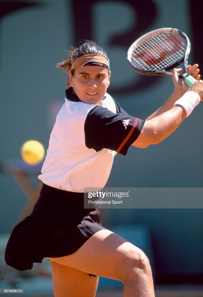Conchita Martinez of Spain during the French Open Tennis Championships at the Stade Roland Garros circa May 2000 in Paris, France.