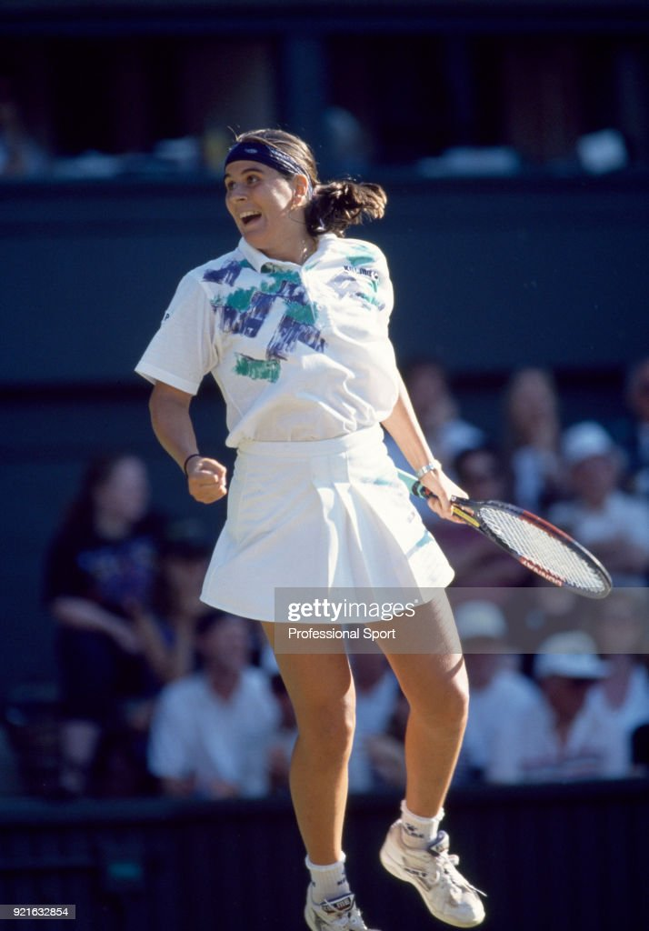 Conchita Martinez of Spain reacts during the Wimbledon Lawn Tennis Championships at the All England Lawn Tennis and Croquet Club, circa June, 1994 in London, England.