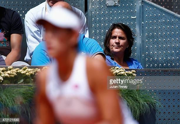 Conchita Martinez watches on as Garbine Muguruza of Spain plays against Svetlana Kuznetsova of Russia during day three of the Mutua Madrid Open...